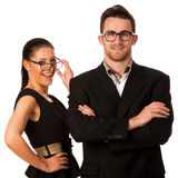 Confident business couple standing next to each other. Woman loo Stock Photo