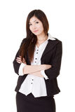 Confident business executive woman. Of Asian, half length closeup portrait on white background Stock Images