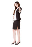 Confident business executive woman. Of Asian give you an excellent gesture and looking at you, full length portrait isolated on white background Stock Photo