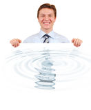 Confident business holding a white board with water Stock Image