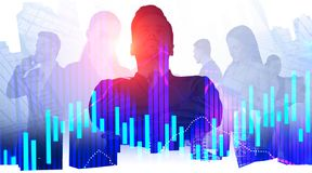 Confident business leader and his team, graphs stock image