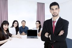 Confident business leader in the meeting room stock photography