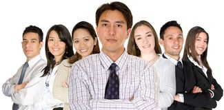 Confident business man and his business team Stock Photos