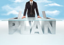 Confident business man leaning on PLAN table on sky backrgound. Bussines concept Royalty Free Stock Photos