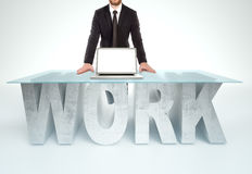 Confident business man leaning on WORK table. Bussines concept Royalty Free Stock Photography