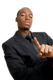 Confident business man with number one finger gest Stock Photo