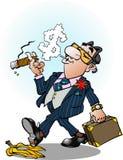 Confident business man. Vector cartoon illustration of a confident business man sliding on a banana peel vector illustration