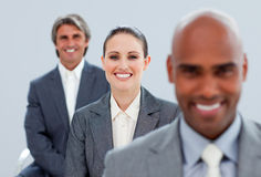 Confident business partners standing. In a line Royalty Free Stock Image