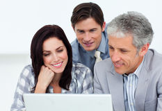 Confident business partners working at a computer Stock Images