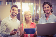Confident business people working with the help of technologies Royalty Free Stock Photo