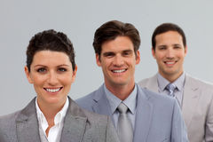 Confident Business team in a line Royalty Free Stock Photos