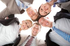 Confident business team making huddle Stock Photo