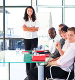 Confident business team after a presentation Royalty Free Stock Images