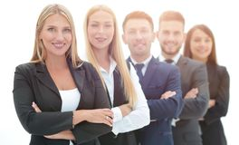 Confident business team standing next to each other royalty free stock photo