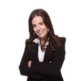 Confident business woman. Portrait of a cute confident business woman isolated against white Royalty Free Stock Photos