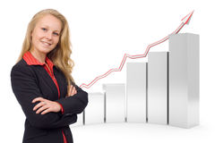 Confident business woman - 3d financial graph vector illustration