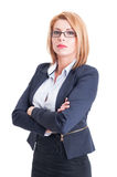 Confident business woman arms crossed Stock Image