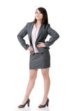 Confident business woman. Of Asian, full length portrait on white background Royalty Free Stock Photography