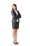 Confident business woman. Of Asian, full length portrait on white background Stock Photos