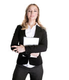 Confident business woman. Confident beautiful young business woman with laptop in hands isolated on white background, general manager in financial company Stock Images