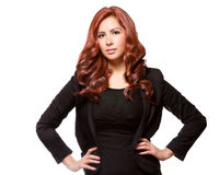Confident business woman in black outfit Stock Images