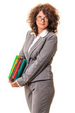 Confident business woman with file folders Stock Image