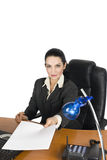 Confident business woman give a blank page royalty free stock photo
