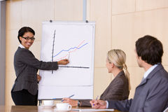 Confident business woman giving presentation. To the business people Stock Photos
