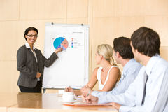 Confident business woman giving presentation. To colleauges Stock Images