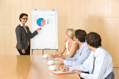 Confident business woman giving presentation. To colleagues in a boardroom Royalty Free Stock Photos