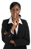 Confident business woman hand on lips for silence Royalty Free Stock Images