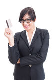 Confident business woman holding a credit card Stock Photography