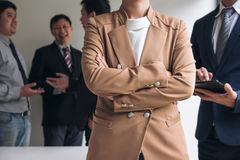 Confident business woman leader, business team meeting conferenc Royalty Free Stock Photo