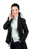 Confident business woman with mobile phone. Beautiful business woman smiling and  talking at  mobile phone isolated on white background,more photos with this Royalty Free Stock Photography