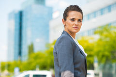 Confident business woman in office district Stock Photography