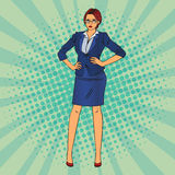 Confident Business Woman. Pop Art. Vector Royalty Free Stock Images