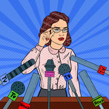 Confident Business Woman on Press Conference. Mass Media Interview. Pop Art illustration. Confident Business Woman on Press Conference. Mass Media Interview. Pop stock illustration