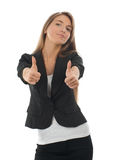 Confident business woman showing thumbs up Stock Images