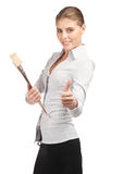 Confident  business woman showing thumbs up Stock Photo