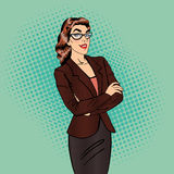 Confident Business Woman. Smiling Female Manager. Pop Art. Royalty Free Stock Photos