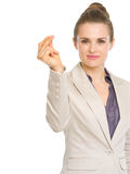 Confident business woman snapping fingers. Isolated on white Stock Photography