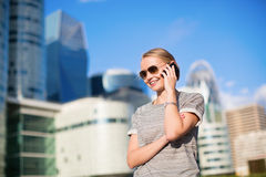 Confident business woman speaking on the phone Stock Image