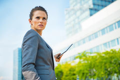 Confident business woman with tablet pc Stock Photos