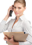 Confident business woman talking on telephone Royalty Free Stock Image
