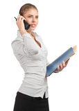 Confident business woman talking on telephone Royalty Free Stock Photography