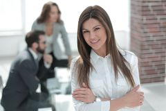 Confident business woman at modern office. Confident business women at modern office. photo with copy space Stock Photography