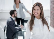 Confident business woman at modern office. Confident business women at modern office. photo with copy space Royalty Free Stock Photo