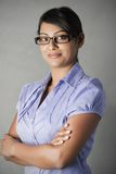 Confident Business young woman with framed glasses Stock Photo