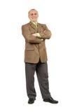 Confident businessman. Full length portrait of a confident businessman isolated on white Royalty Free Stock Photos
