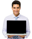Confident Businessman Advertising Laptop Royalty Free Stock Images